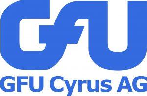GFU Cyrus AG Logo weißer Hintergrund blaue Schrift