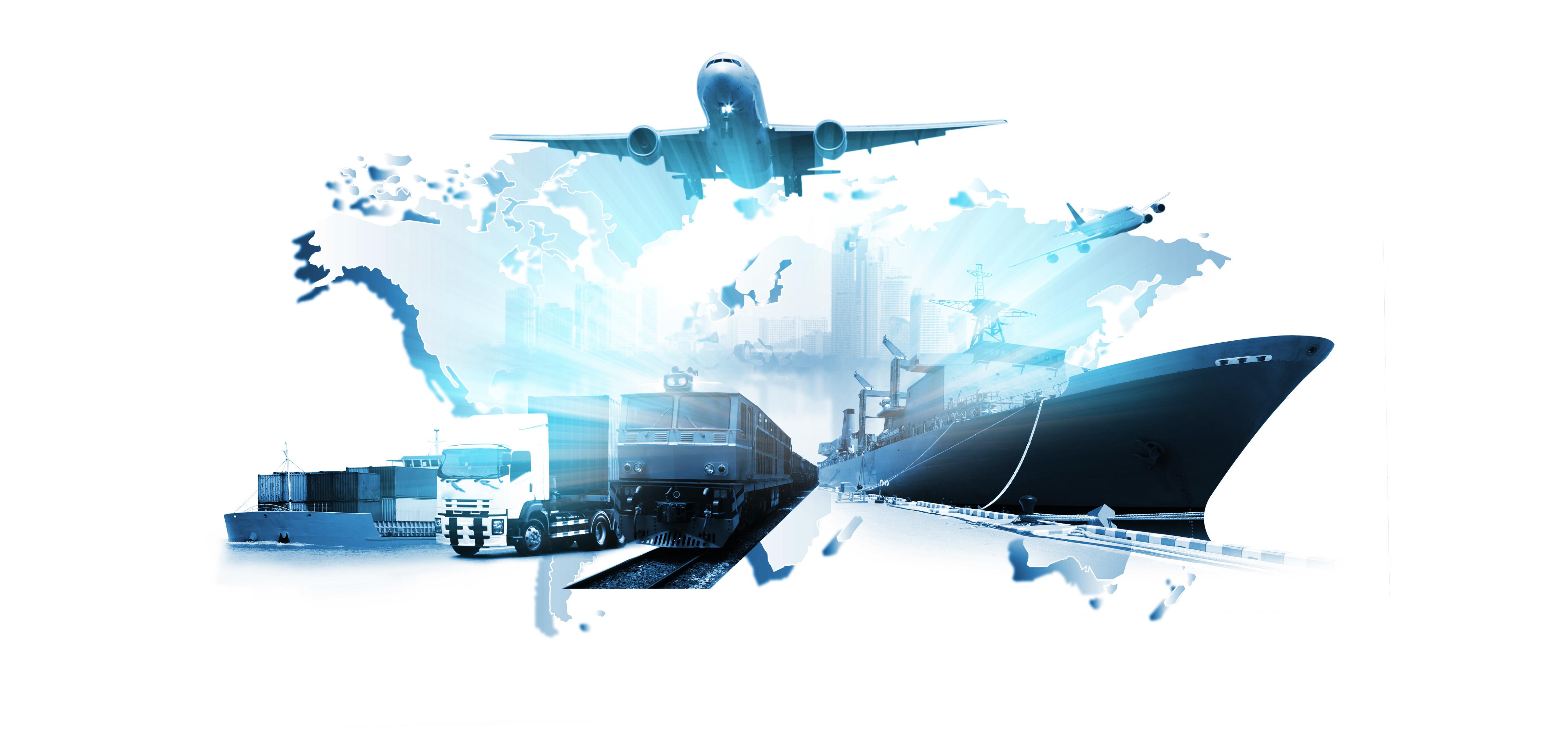 Internationale Logistik aller Branchen mit Luftfahrt, LKW, Schifffahrt und Schienenverkehr