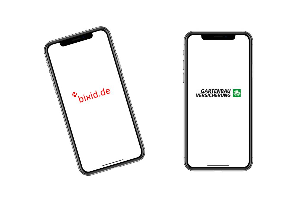 Mobile Devices in Smartphone Optik mit weißem Hintergrund und Kundenlogos